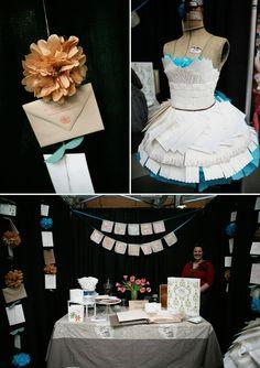 """""""dress"""" made of letterpress cards (displayed on a vintage dress form)."""