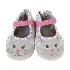 Robeez Mouse Soft Soles baby shoes are made of grey suede and feature an embroidered mouse face with 3D ears.