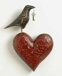 "Art featuring Heart, Key and Crow: ""Valentine, you already hold the key to my heart? I Love Heart, Key To My Heart, Good Heart, Happy Heart, Heart Art, Prince Charmant, Heart Crafts, Paperclay, Arte Popular"