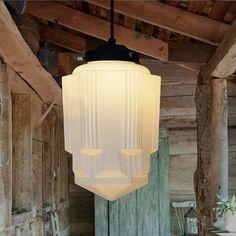 Art deco milk glass pendant light Tudo & Co Art Deco Pendant Light, Art Deco Chandelier, Art Deco Lighting, Glass Pendant Light, Vintage Lighting, Pendant Lighting, Mini Pendant, Lighting Ideas, Light Art