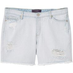 Bleach Wash Denim Bermuda Shorts ($39) ❤ liked on Polyvore featuring shorts, embellished shorts, destroyed shorts, torn shorts, zipper shorts and distressed bermuda shorts