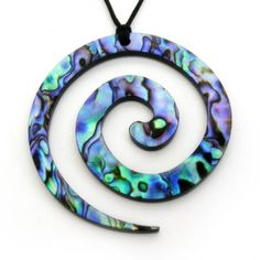 The spiral, or Koru, symbolizes the opening of a fern frond. It depicts awakening of the soul, new beginnings, positive change and personal growth. This spiral necklace is made from New Zealand Paua Shell. http://www.nenevieri.com/shop/mother-nature-inspired/paua-world/