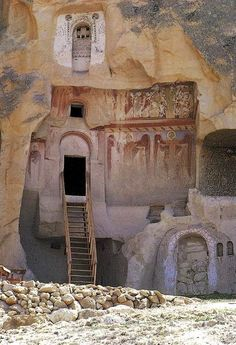 Rock Carved dwellings, Goreme in Cappadocia, central Anatolia, Turkey