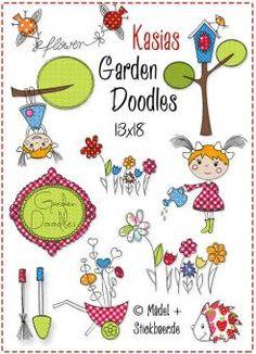 Der Stickbär | Kasias Garden Doodles 13x18 | Stickmuster mit Herz