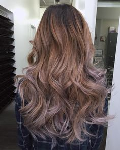 layered hairstyle with caramel to ash brown ombre