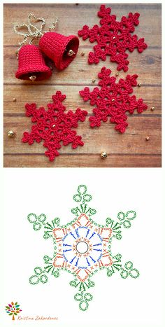 Crochet Thread Patterns, Crochet Snowflake Pattern, Crochet Motifs, Christmas Crochet Patterns, Crochet Snowflakes, Granny Square Crochet Pattern, Diy Crochet, Crochet Hooks, Crochet Christmas Decorations
