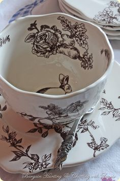 Peter Rabbit classy china and cute little spoon. LOVE this in black on white!
