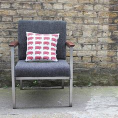 knitted lambswool london bus cushion by sally nencini | notonthehighstreet.com
