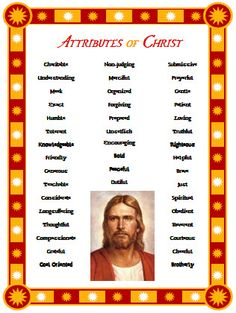 Attributes of Christ Handout