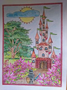 Finished: 6. 10. 2015; Source: http://www.amazon.com/Adult-Coloring-Books-Castles-11/dp/1517403871/ref=asap_bc?ie=UTF8; Medium: Maped Color'Peps, Koh-i-noor Magic, chalk.