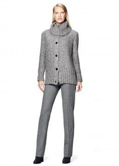 Plush Boucle Oversized Cardigan and Italian Stretch Wool Menswear Pant
