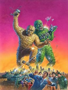 This artwork is deceiving since in the film the golden gargantua Sanda is a Good Guy while the green one Gaira is the one who runs amok. The battle of the title is between Sanda and Gaira and ends with them both, apparently perishing. Brix