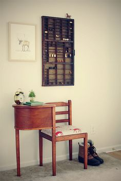 vintage telephone desk & type cabinet as decor