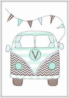 Seaside brown and green kombi van print - hardtofind.