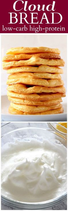 Cloud Bread Recipe - aka Oopsie bread. A low-carb, high-protein, gluten free substitute for bread, made with just 3 ingredients.