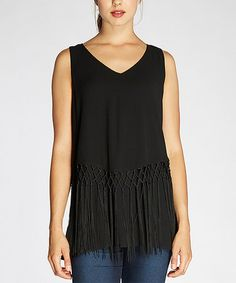 This Black Fringe Sleeveless Top is perfect! #zulilyfinds