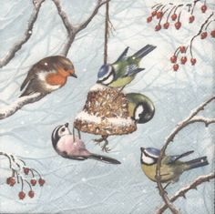 Winter Birds in the Snow with Holly | Bird Napkins | Winter Napkins Snow Napkins Paper Napkins for Decoupage