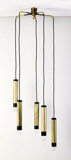 Anonymous; Brass and Enameled Metal Ceiling Light, c1960.