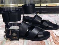 ZARA BASC COLL BLK authentic LETHER VELCR ARND ANKLE BUKLE SANDALS Sz 7.5u 38eur #ZARA #Gladiator #anytimeisagoodtime