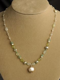 Green and Pearl Drop Necklace | Handmade Designer Jewelry