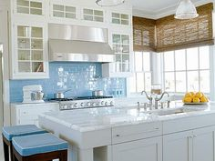 blue water glass backsplash