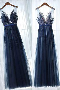 Dark Blue Tulle Lace Long Prom Dress,Dark Blue Bridesmaid Dress,Backless Long Lace Prom Dresses,Open on Luulla Tulle Prom Dress, Lace Dress, Tulle Lace, Beaded Lace, Knit Dress, Dark Blue Bridesmaid Dresses, Dark Blue Dresses, Bridesmaid Gowns, See Through Prom Dress