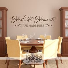 """""""Meals and Memories Are Made Here"""" This simple and sentimental kitchen wall decal quote can add a splash of class to every kitchen wall. The long rectangle layout also provides many space options for kitchens as they tend to have more rectangle wall space in our kitchens than any other size. Our unique wall decal sticker designs will fit anywhere in your kitchen, whether it is above or below cabinets, in soffits, or above your dining table. See more at www.lacybella.com"""