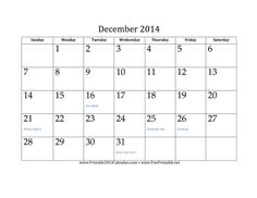 December 2014 Calendar free to download and print