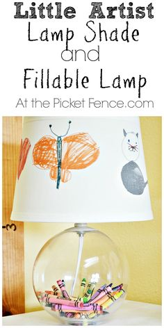 Celebrate your little artist with this fun and simple art lamp. Let them draw on the lampshade and then fill the lamp base with crayons for a one of a kind creation! @At The Picket Fence