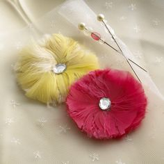 Feather Flowers and Pins from webster's pages blog