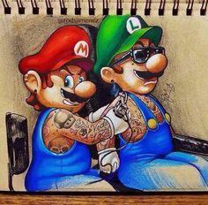 Mario & Luigi by Rods Jimenez Mario Bros, Mario And Luigi, Super Mario, Bugs Bunny Drawing, Ink Art, Body Art Tattoos, Art Forms, Tatting, Creepy