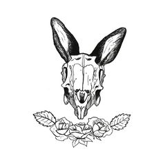 Check out this awesome 'Rabbit+Skull+and+Rose' design on Bone Tattoos, Symbol Tattoos, Body Art Tattoos, Animal Drawings, Cool Drawings, Rabbit Anatomy, Cat Skull Tattoo, Skull Reference, Skull Sketch