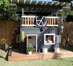 Amazing Shed Plans - Cubby More Now You Can Build ANY Shed In A Weekend Even If You've Zero Woodworking Experience! Start building amazing sheds the easier way with a collection of shed plans! Backyard Fort, Backyard Playhouse, Build A Playhouse, Backyard Playground, Backyard For Kids, Playhouse Ideas, Playhouse For Boys, Kids Swingset Ideas, Pallet Playhouse