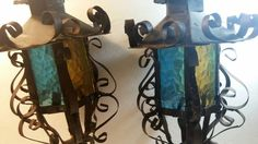 Mid Century Iron Colored Glass Panels Porch Lanterns