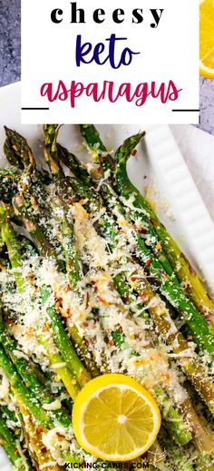 Looking for low carb recipes that are easy to make? It doesn't get much easier than this cheesy Keto Asparagus! Topped with Parmesan, this super-simple recipe can be baked or cooked in your air fryer. Such and easy and delicious side! Best Low Carb Recipes, Gluten Free Recipes For Dinner, Healthy Gluten Free Recipes, Sugar Free Recipes, Keto Recipes, Vegetarian Recipes, Low Carb Side Dishes, Healthy Side Dishes, Easy Snacks