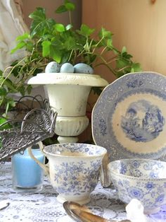 love the eggs in the urn! Everything is gorgeous (1) From: French Bleu Vintage, please visit