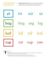 Early reading worksheets including sight words and rhyming