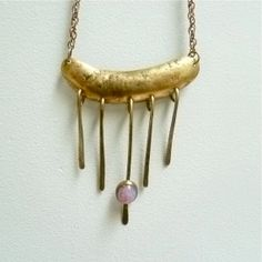 Modernist Brass with Opal Necklace by FoundVintageStyle on Etsy