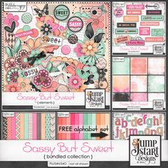 SASSY BY SWEET Bundled Collection by Jumpstart Designs is full of fun, bright, adorable colors and elements to help you scrap those cute little boys and girls, friends, or your own selfies!Available at 10% off at Pickleberrypop.  You can also buy the kit only.
