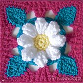 Crochet square flower This is my latest design, free on Ravelry: Sweet Daisy Square by Artisan loops. Crochet Flower Squares, Crochet Squares Afghan, Crochet Granny Square Afghan, Crochet Motifs, Granny Square Crochet Pattern, Crochet Blocks, Crochet Flower Patterns, Crochet Stitches Patterns, Crochet Flowers