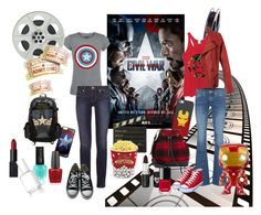 """""""Movie time 2016! Captain America vs Iron Man"""" by mimsy-san ❤ liked on Polyvore featuring Tory Burch, Converse, Marvel Comics, True Religion, Casetify, Funko, Barneys New York, NARS Cosmetics, Voom and Chanel"""