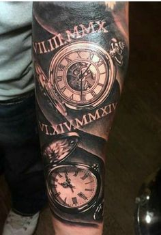 200 Meaningful Pocket Watch Tattoos (Ultimate Guide - Watch - Ideas of Watch - 200 Popular Pocket Watch Tattoo Designs & Meanings Time Tattoos, Arm Tattoos For Guys, Trendy Tattoos, New Tattoos, Cool Tattoos, Pocket Watch Tattoo Design, Pocket Watch Tattoos, Clock Tattoo Design, Tattoo Designs And Meanings