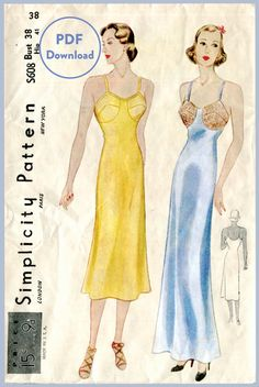 1930s 30s vintage lingerie sewing pattern lace slip dress negligee bust 38 Instant Download