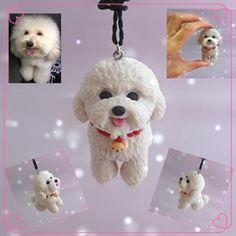 Photos Custom Poodles Dog Figurine Car Pendant / DIY Polymer Clay Pet Animal Doll  /Free Shipping