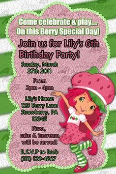 Invitations and Party Supplies Custom Party Invitations, Birthday Invitations, 6th Birthday Parties, 4th Birthday, Strawberry Shortcake Birthday, Party Guests, Friend Birthday, Special Day, Party Supplies