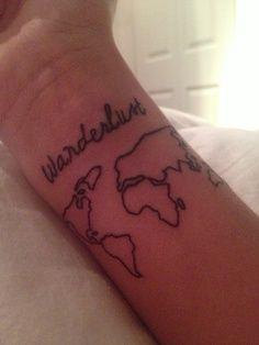 map and wanderlust tattoo