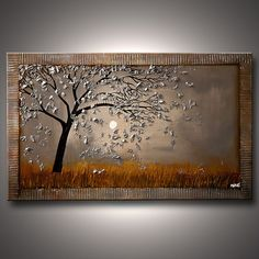 Silver Tree Painting Modern Landscape Painting 48 by OsnatFineArt