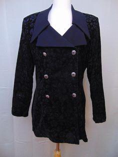 Mascara Vintage Jacket/Blazer Black Floral Long Sleeve Collared Size 10 #645 #Mascara #Blazer