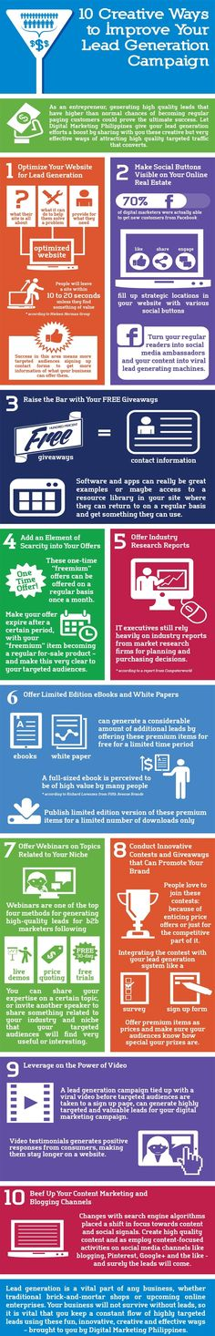 10 Creative Ways to Improve Your Lead Generation Campaign (Infographic) - An Infographic from Digital Marketing Philippines Marketing Automation, Inbound Marketing, The Marketing, Marketing Digital, Business Marketing, Content Marketing, Internet Marketing, Social Media Marketing, Online Marketing