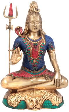 Lord Shiva Brass Sculpture with colored inlay. Exceptionally cool Brass Sculptures Handmade by Master Craftsmen in India and Nepal FREE FAST WORLDWIDE SHIPPING! Click through! (affiliate promotion) #shiva #lordshiva #shiv #sculpture #sculptures #traditional #spiritual #hindu #crafts #handmade #gifts #homedecor #culture #art